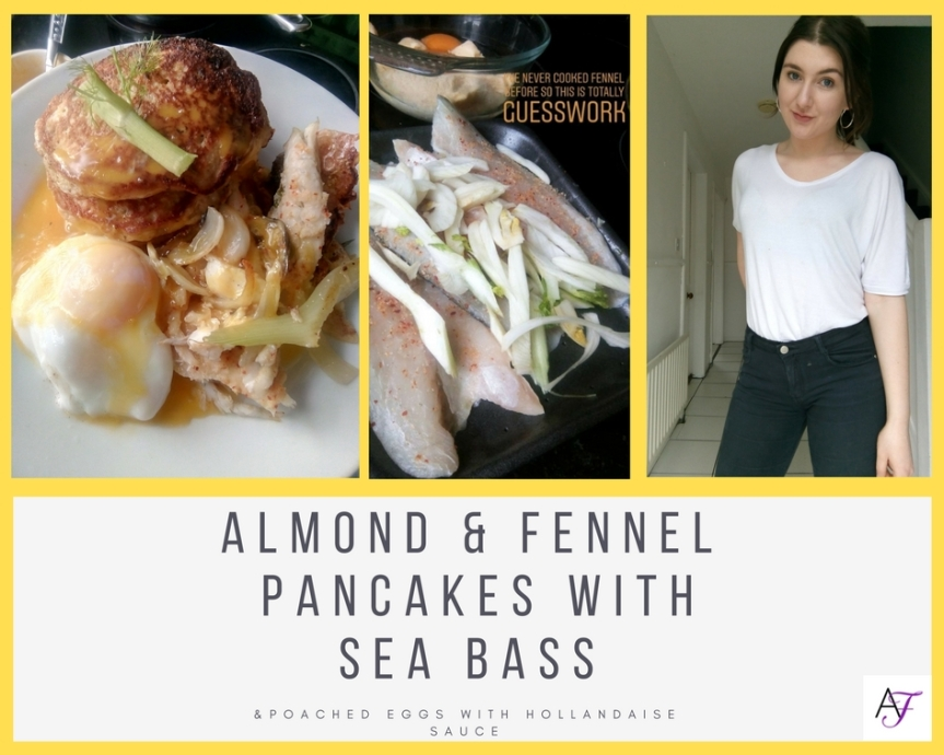 Fancy Kitchen: Almond & Fennel Pancakes with Sea Bass and PoachedEggs